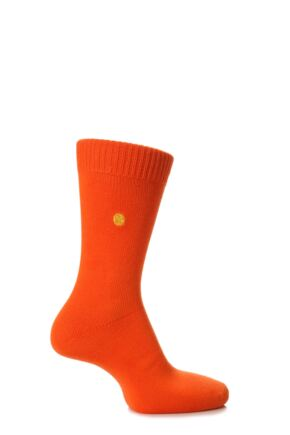 Mens 1 Pair SockShop Colour Burst Cotton Socks with Smooth Toe Seams Clementine 11-14