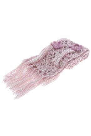 Girls CosmoGirl! Crochet Bloom Scarf 75% OFF Pink & Cream
