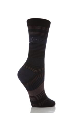 Ladies 1 Pair Elle Striped and Diamante Socks
