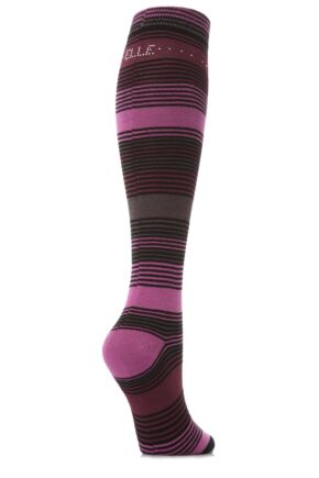 Ladies 1 Pair Elle Striped and Diamante Knee Highs Pagoda