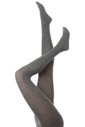 Ladies 1 Pair Trasparenze Mosca Merino Wool Ribbed Tights Asfalato L