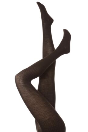 Ladies 1 Pair Trasparenze Mosca Merino Wool Ribbed Tights