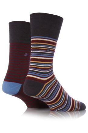 Mens 2 Pair SockShop Striped Gentle Grip Socks with Smooth Toe Seams Grey 12-14
