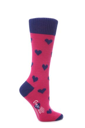 Ladies 1 Pair Corgi 100% Cotton Hearts Socks Pink