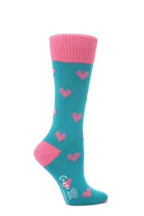 Ladies 1 Pair Corgi 100% Cotton Hearts Socks Peacock