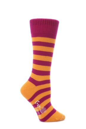Ladies 1 Pair Corgi Cashmere and Cotton Block Striped Socks Pink