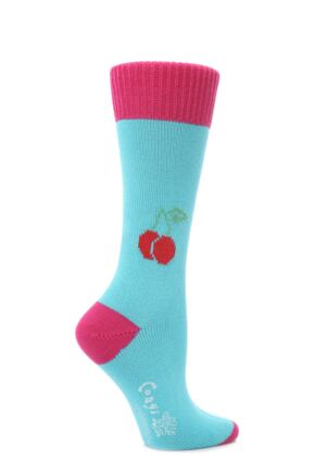 Ladies 1 Pair Corgi 100% Cotton Cherry Socks Turquoise