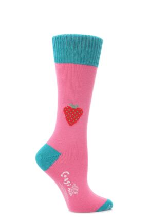 Ladies 1 Pair Corgi 100% Cotton Strawberry Socks Lipstick M