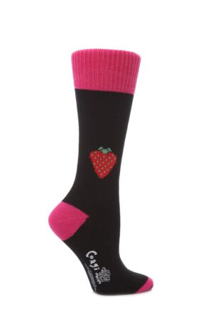 Ladies 1 Pair Corgi 100% Cotton Strawberry Socks Black M
