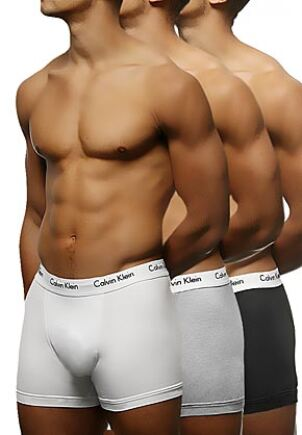 Mens 3 Pack Calvin Klein Cotton Stretch Trunks Black / White / Grey