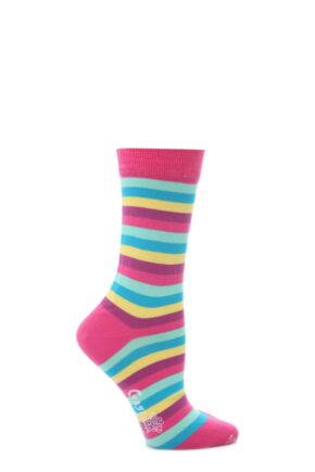 Ladies 1 Pair Corgi Striped Fine Cotton Socks Ortensia