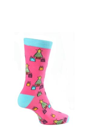 Mens 1 Pair SockShop Christmas Dare to Wear Trees and Gifts Socks Pink