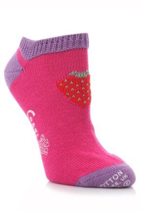 Ladies 1 Pair Corgi 100% Cotton Strawberry Trainer Socks In 3 Colours
