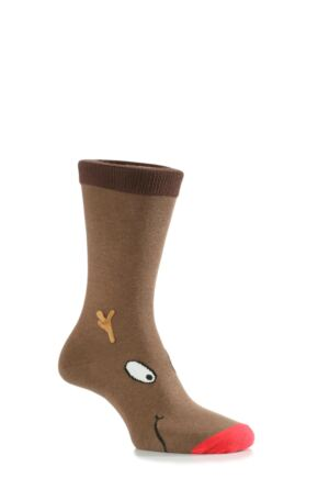 Mens 1 Pair SockShop Dare To Wear Christmas Socks - Rudolph 12-14 Mens