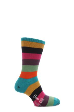 Mens 1 Pair Corgi 100% Cotton Wide Striped Socks Peacock 7-9