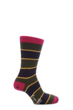 Mens 1 Pair Corgi 100% Cotton Triple Stripe Socks Moss L