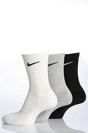 Mens and Ladies 3 Pair Nike Sports Cotton Half Cushioned Crew Socks