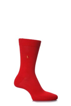 Mens 1 Pair SockShop Colour Burst Cotton Socks with Smooth Toe Seams Red 7-11