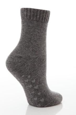 Ladies 1 Pair Elle Angora Slipper Socks with Heart Grips