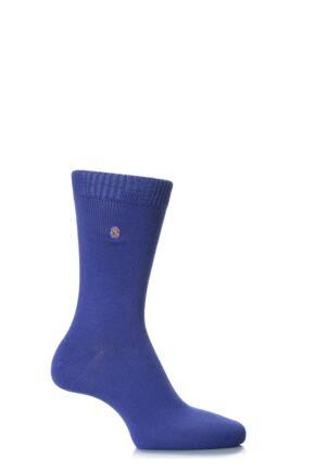 Mens 1 Pair SockShop Colour Burst Cotton Socks with Smooth Toe Seams Iris 7-11