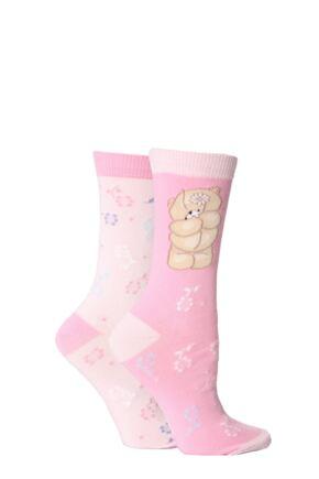 Ladies 2 Pair Forever Friends Best Mum Patterned Socks 25% OFF Pink