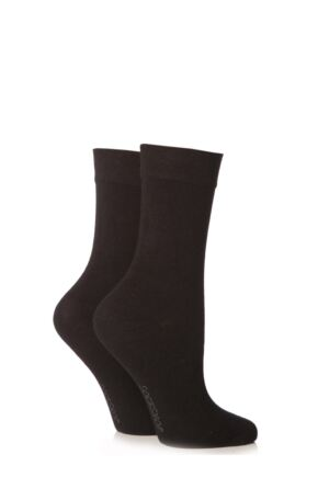 Ladies 2 Pair SockShop Plain Bamboo Socks with Smooth Toe Seams Black