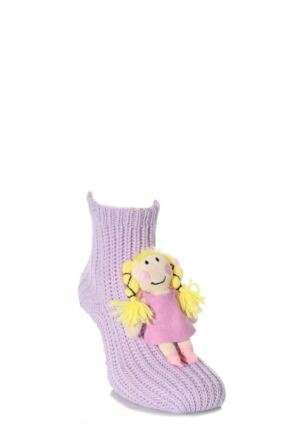 Girls 1 Pair SockShop Toy Box Socks Fairy With Non-slip Grip Purple