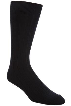 Mens 1 Pair John Smedley Delta Plain Ribbed Cotton Socks 50% OFF