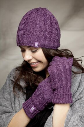 Ladies 2 Pack Heat Holders Gift Boxed Hat and Gloves Set Purple M/L