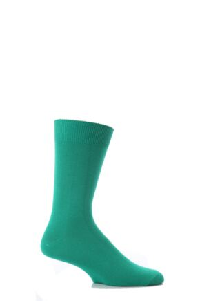 Mens 1 Pair SockShop Colours Single Cotton Rich Socks 6-11 Mens - Emerald Green
