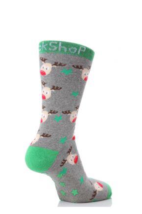 Ladies 1 Pair SockShop Christmas Rudolph Slipper Socks Grey