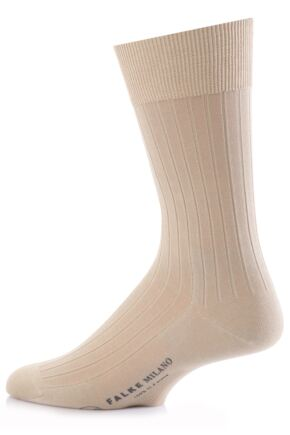 Mens 1 Pair Falke Milano Rib 100% Fil d'Ecosse Cotton Socks In 6 Colours