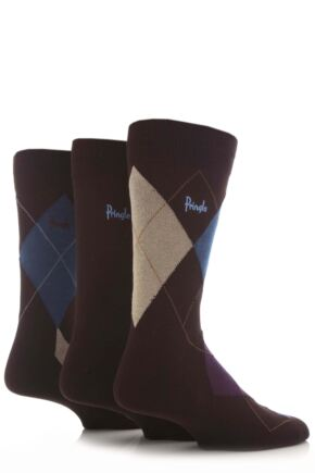 Mens 3 Pair Pringle Strathaven Argyle Design Cotton Socks Brown