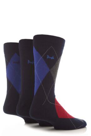 Mens 3 Pair Pringle Strathaven Argyle Design Cotton Socks
