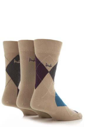 Mens 3 Pair Pringle Strathaven Argyle Design Cotton Socks Beige