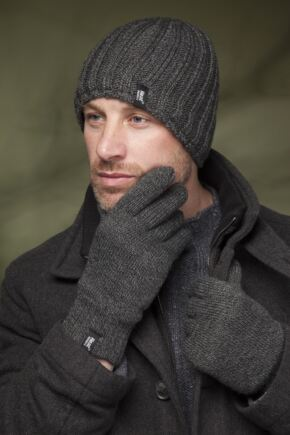 Mens 2 Pack Heat Holders Gift Boxed Hat and Gloves Set Charcoal S/M