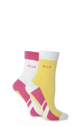 Ladies 2 Pair Elle Non-Cushioned Ankle Sports Socks Pink 2