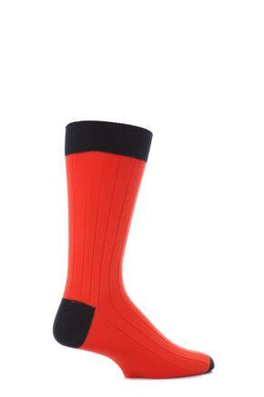 Mens 1 Pair John Smedley Denholm Plain Merino Wool Socks Orange Spice/Midnight