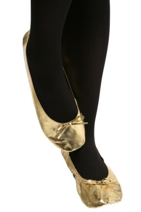 Ladies 1 Pair Rollasole Gold Digger Rollable Shoes to Keep in Your Handbag, Car or Office Desk Gold Medium