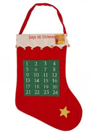 SockShop Christmas Stocking With 24 Day Calendar Design Red