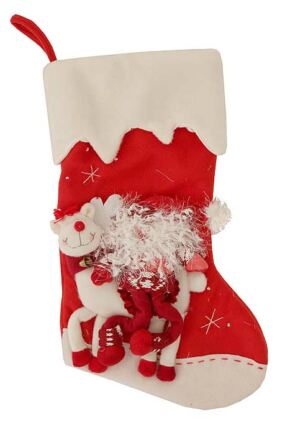 SockShop Christmas Stocking With Embroidered Father Christmas and Reindeer Design Red
