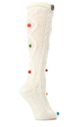 Ladies 1 Pair Urban Knit Mixed Textured Slipper Socks Non Slip With Bobbles 25% OFF This Style