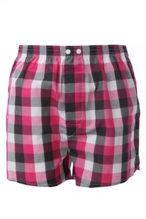 Mens 1 Pack Pringle Check Woven Boxer Shorts In Pink Pink XL