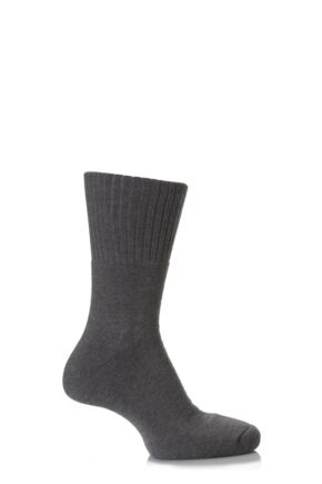Mens and Ladies 1 Pair SockShop Comfort Cuff and Full Cushioned Cotton Socks 25% OFF This Style Charcoal 6-8.5