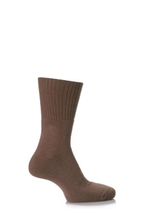 Mens and Ladies 1 Pair SockShop Comfort Cuff and Full Cushioned Cotton Socks Brown 12-14