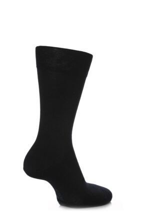 Mens 1 Pair Falke Sensitive Berlin Virgin Wool Left and Right Socks With Comfort Cuff Dark Navy 43-46