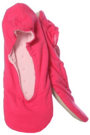 Ladies 1 Pair Isotoner Stretch Jersey Ballet Slippers In Hot Pink