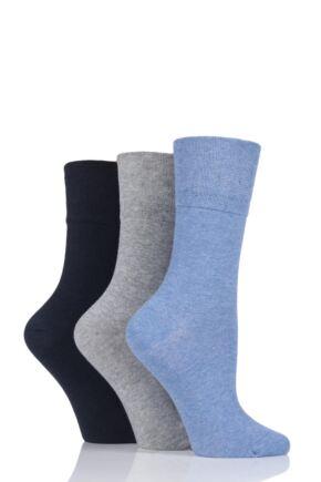 Ladies 3 Pair Iomi Footnurse Gentle Grip Diabetic Socks Blue 4-8