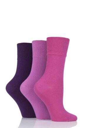Ladies 3 Pair Iomi Footnurse Gentle Grip Diabetic Socks Pink 4-8