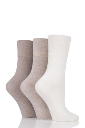 Ladies 3 Pair Iomi Footnurse Gentle Grip Diabetic Socks Light Brown 4-8